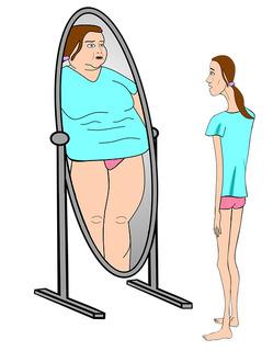 Ilustración de una mujer muy delgada frente a un espejo en el que se refleja obesa.
