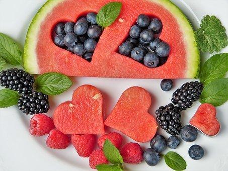 Frutas, Sandía, Corazón, Arándanos